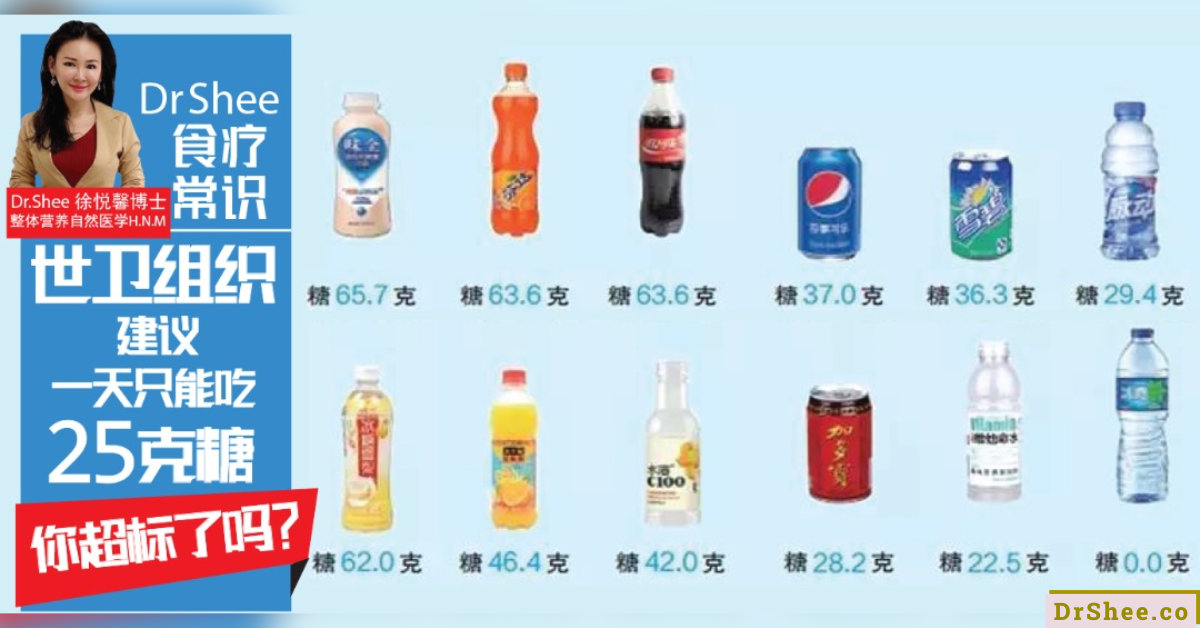 Dr Shee 食疗常识 世卫组织建议 一天只能吃25克的糖 你知道糖分过高的后遗症吗 Dr Shee 徐悦馨博士 整体营养自然医学 A00