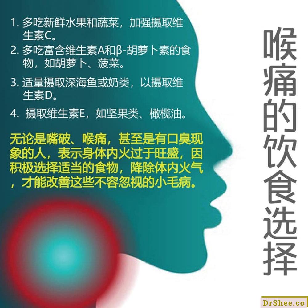 Dr Shee 食疗养生 喉痛食疗 苦瓜番茄饮 一次见效 喉痛的饮食选择 Dr Shee 徐悦馨博士 整体营养自然医学 A02