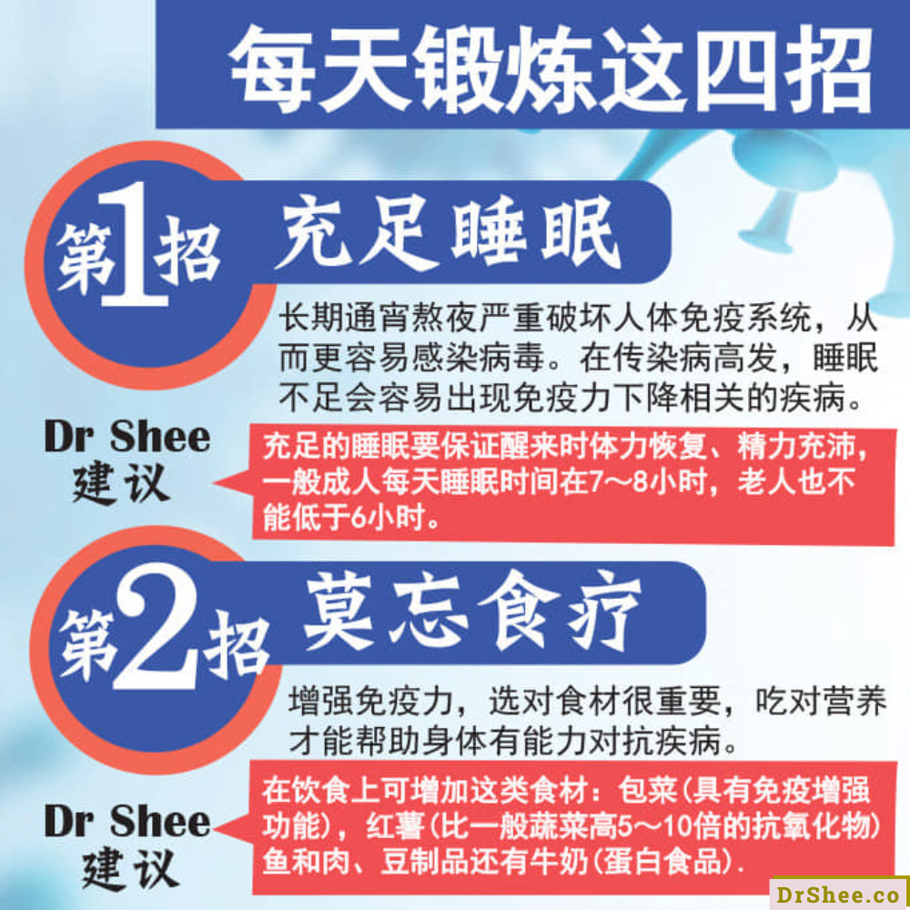 Dr Shee 身体力行4招教您如何提高免疫力 每天锻炼这四招 让您抗疫强身 Dr Shee 徐悦馨博士 整体营养自然医学 A02